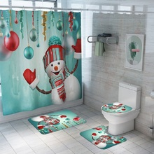 Merry Christmas Snowman Pattern Bathroom Waterproof Shower Curtain Set  Pedestal Rug Lid Carpet Toilet Cover Bath Mat Set