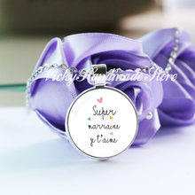 Super Marraine verre Cabochon pendentifs colliers Je Suis Une Maitresse Qui Dechire lettre française Art Design enseignant cadeau SM05