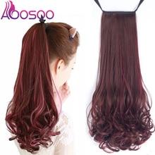 AOOSOO длинные вьющиеся волосы женский двухцветный парик высокотемпературная оптоволоконная заколка конский хвост удлинение для белых женщин головной убор