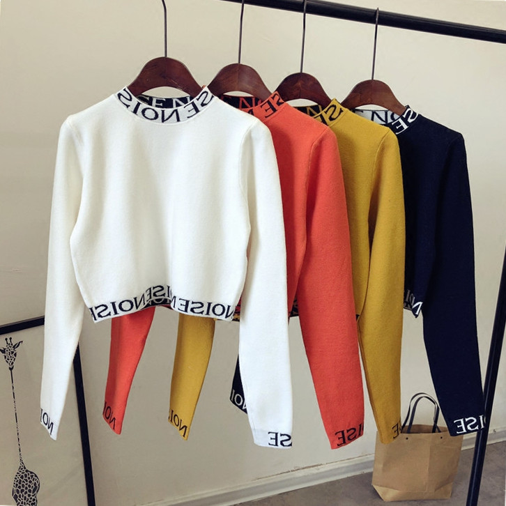 Women Harajuku Knitted Letter Half Turtleneck Short Sweater Pullovers Top OL Lady Full Sleeve High Waist Slim Fit  Shirt Tops