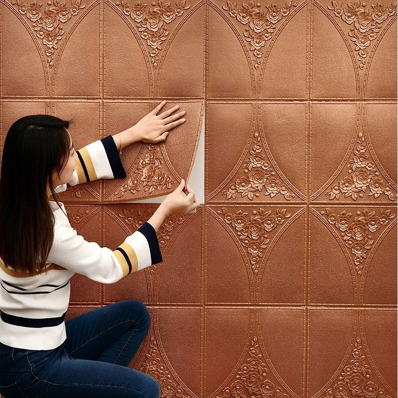 Pegatina de pared de espuma suave autoadhesiva 3D, aislamiento acústico anticolisión, impermeable, Fondo de sala de estar, papel tapiz decorativo