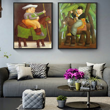 The President And First Lady By Fernando Botero Oil Paintings Funny Art Pictures for Living Room Home Decor (No Frame)