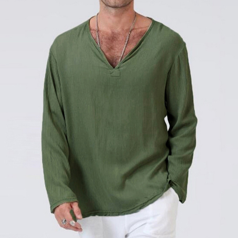 Plus Size 3XL Tunic Mens Shirt Soft Solid Color Linen Basic Casual Long Sleeve V-Neck Shirts Men Summer Spring Loose Tops