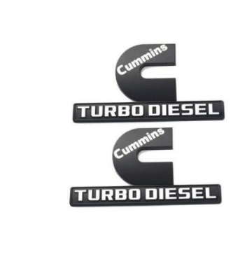 2pcs Small Size Genuine Cummins Turbo Diesel Emblems Chrome Black Origianl Size Output Decal Badges Replacement for 2006-2018 2500 3500 Nameplate Fender Emblems