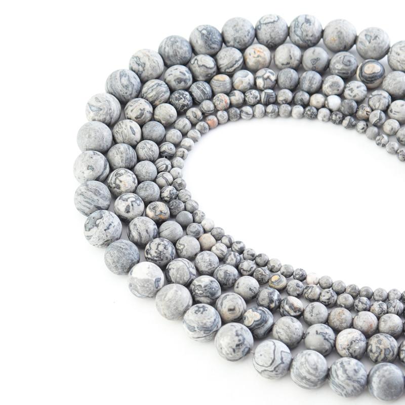 Купить 1 нитка 4 6 8 10 12 мм бусины из натурального камня серая карта