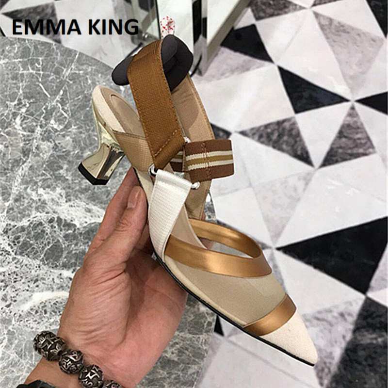 EMMA KING New Sexy Women Mesh Thick Heels Pumps Designer Pointy Sandals for Women Comfortable Fairy Style Shoes Mujer