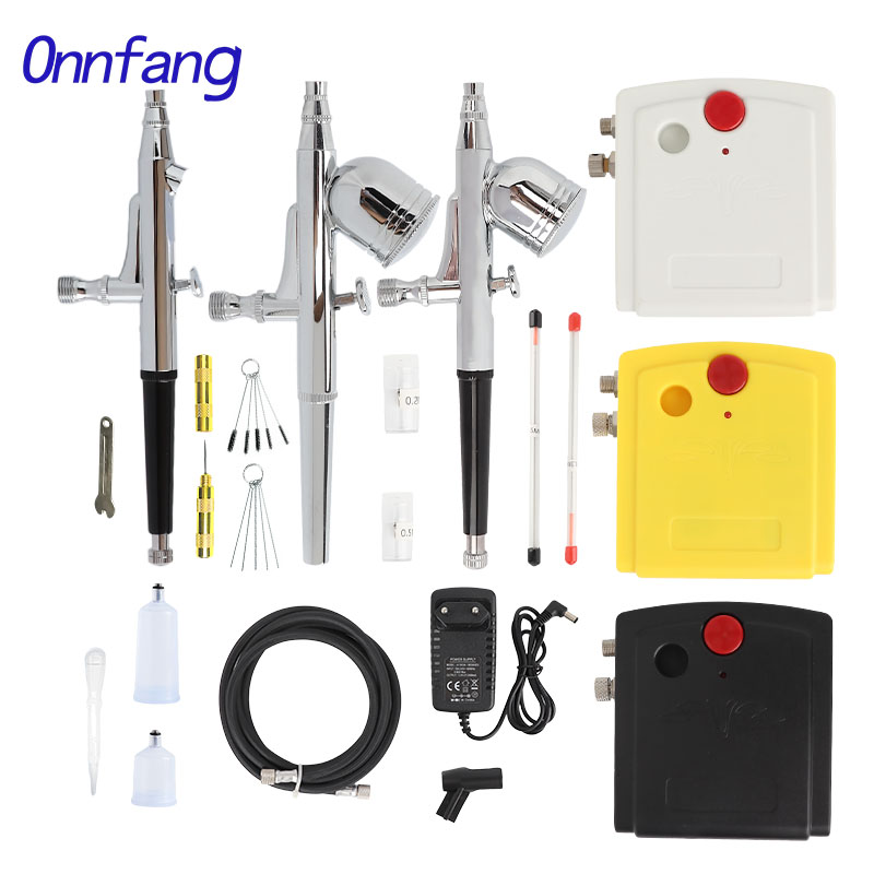 Onnfang Dual Action Airbrush Air Compressor Kit Spraying For Art Painting Tattoo Manicure Craft Cake Spray Model Air Brush Nail