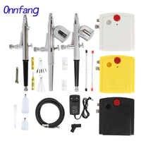 Onnfang doble acción aerógrafo Kit de compresor de aire pulverización para arte pintura tatuaje manicura artesanía pastel Spray modelo cepillo de aire uñas