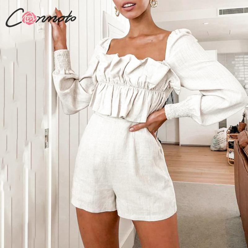Conmoto Fall 2019 Fashion Women Long Sleeve Jumpsuit With A Zipper Casual Ruffle High Waist Rompers Autumn Denim Short Jumpsuit