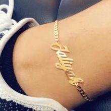 AurolaCo nazwa własna Anklet osobowość kubański łańcuszek Anklet ze stali nierdzewnej nazwa własna płyta Anklet dla damska biżuteria na prezent
