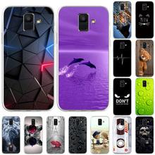 Etui TPU do Samsung J6 przypadki zwierząt wzór tylna pokrywa na Samsung Galaxy J6 2018 SamsungJ6 Plus miękkie malowane telefon Coque tanie tanio Bolomboy CN (pochodzenie) Częściowo przysłonięte etui Silicon Painted Case For Samsung Galaxy J6 2018 SamsungJ6 Plus