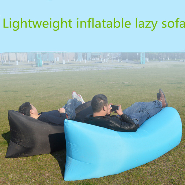 Lazy Pillow Waterproof Lazy Inflatable Sofa Portable outdoor beach air sofa bed Sleeping bag bed Oxford cloth 240*70cm 2