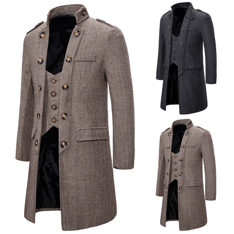 Steampunk Men Jacket 2019 New Winter Wool Thicked Trench Coat Men's Two False Waistcoats Gray Wool Jackets Masculinity