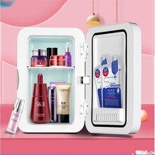 Ha-life 8l mini geladeira de maquiagem portátil cosméticos geladeira compacto painel de vidro led luz refrigerador mais quente freezer casa uso do carro
