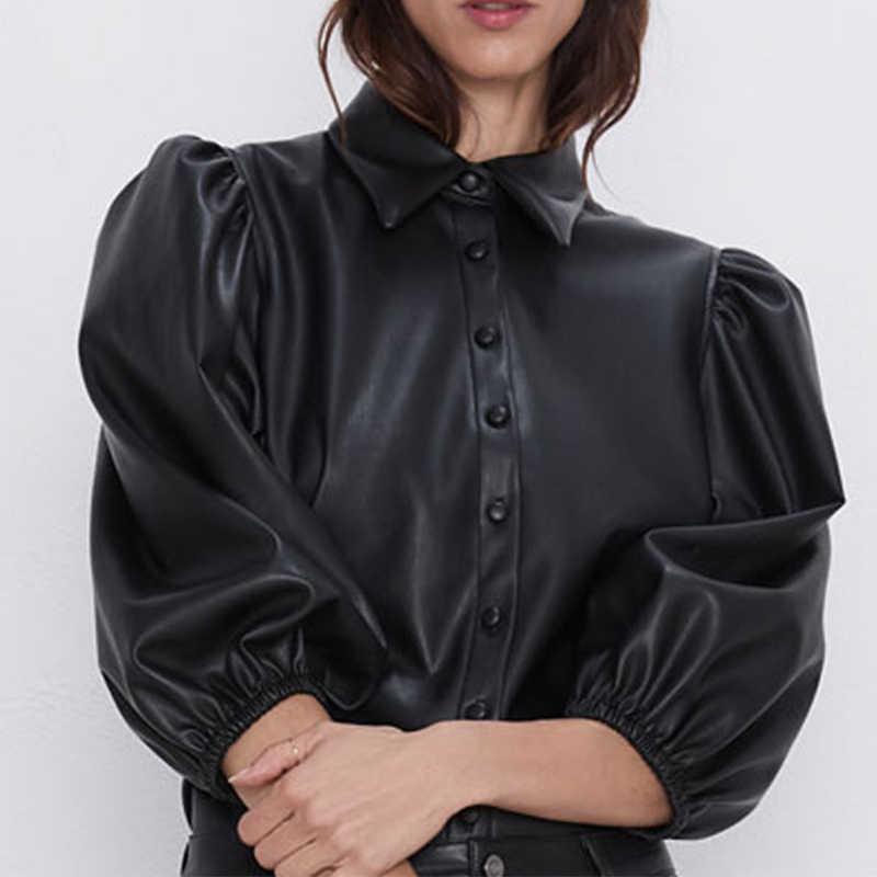 Schwarz Faux Leder PU frauen Jacken Mantel 3/4 Puff Sleeve Frau Mäntel 2020 Herbst Streetwear Neue Büro Damen Elegante tops