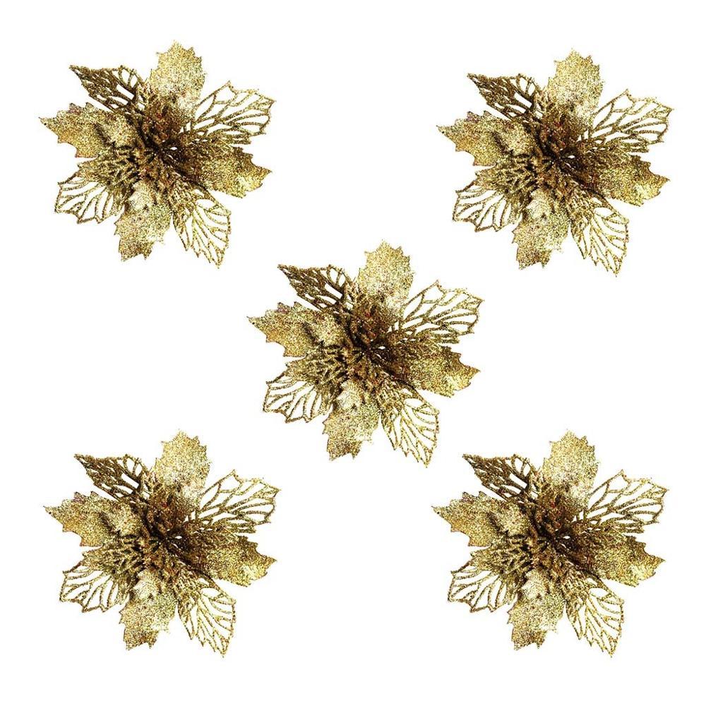 Hollow Higan Flower Glitter Artificial Flowers Christmas Ornament Party Decor