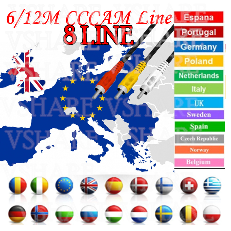 Cccam Cline Receptor For 1year Spain Portugal Europe Polish Poland Canal+4K Used For GTMEDIA Satellite Receiver DVB-S2 CCcam