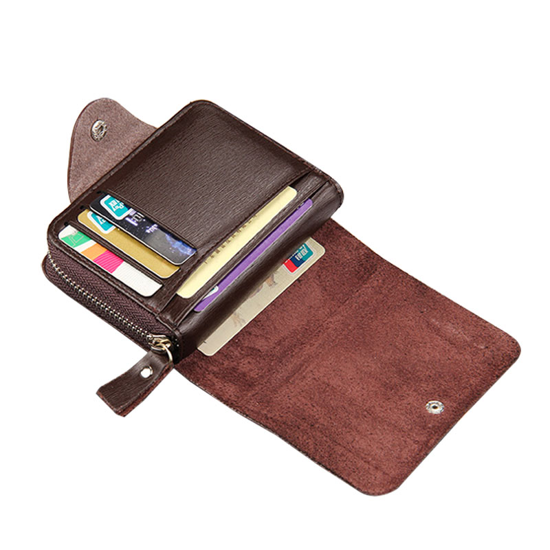 Fashion Men Short Purse PU Leather Solid Color Zipped Hasp Clutch Money Bag Man Casual Wallet Card Holder New