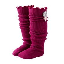 Socks Children Girls Winter Autumn Patch Curled Flowers Half-Length-Tube Fungus Pile