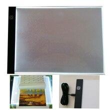 Huacan-almohadilla de luz LED para tableta de pintura de diamante A4 A5, accesorios de mosaico de diamantes, tres niveles, regulable