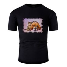 New Arrival Beagle Dog And Kitten Digital Art T Shirt Man Humor Hilarious Novelty T Shirts Black 2020 Tee Shirt(China)