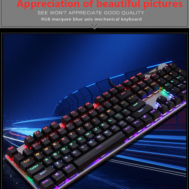 Gaming Mechanical Keyboard With LED Backlight USB Wired Keyboards Luminous Blue Swich for PC Laptop Russian Sticker 3