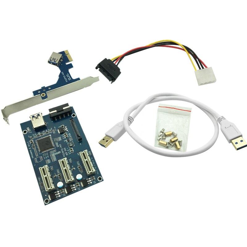 Pci E 1 To 3/4/2 Express 1X Slots Riser Card Mini Itx External 3 Pci-E Slot Adapter Pcie Port Multiplier