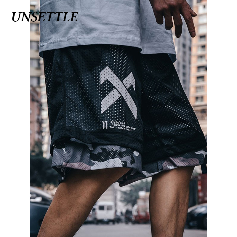 UNSETTLE Double Side Harajuku Shorts Men Streetwear Casual Shorts Hip Hop Sweatpants Print Mesh Camouflage Military Short Pants