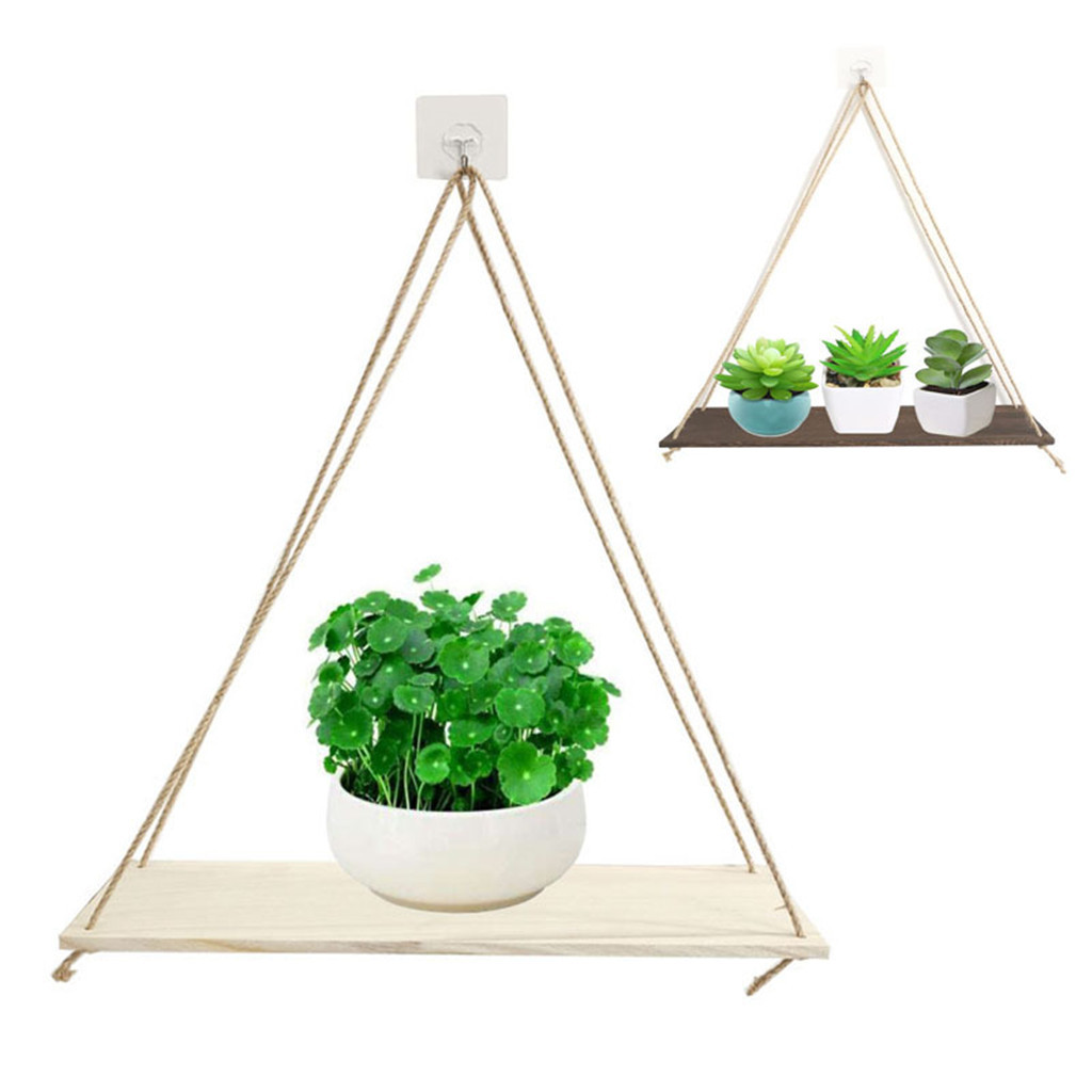 Premium Wood Swing Hanging Rope Wall Mounted Floating Shelves Plant Flower Pot indoor outdoor decoration simple design #5