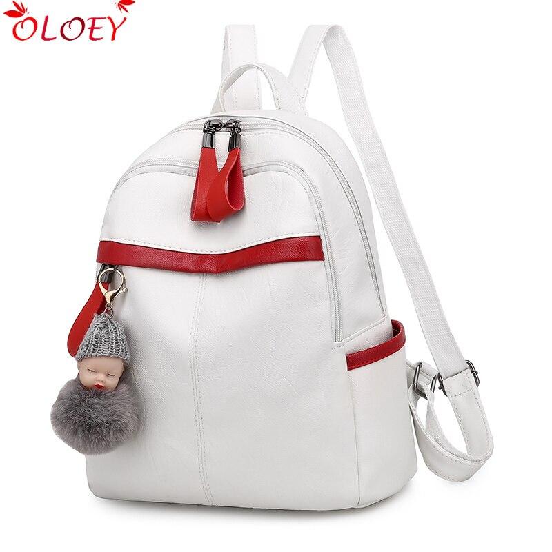 New Simple Women Zipper Qualitybackpack Soft Leather School Bag College Style School Bag Teenager Girl Cute Doll Pendant Mochila