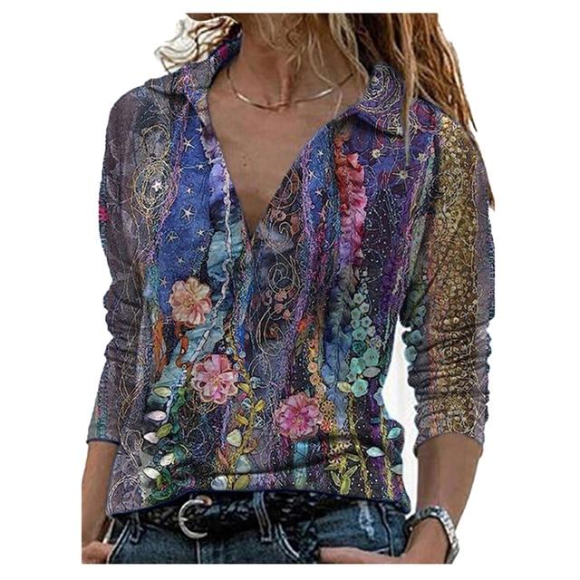 2021 Spring Summer Landscape Print Shirt Women Elegant Turn Down Collar Long Sleeve Women Tops and Blouses Loose Tee 2