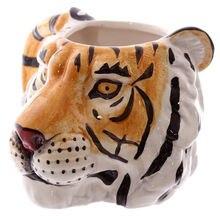 Креативная 3d чашка с головой тигра животное керамическая кружка