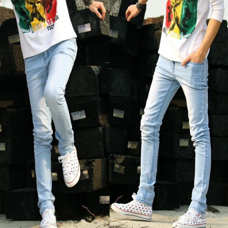 2019 Spring And Autumn Men's Light Blue Jeans Korean-style Skinny Jeans New Style Stretch Denim Trousers