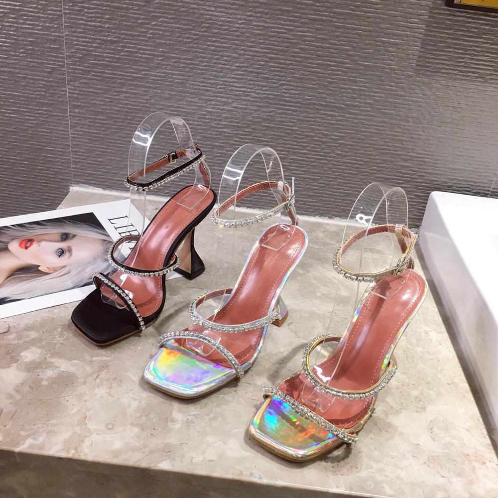Новая летняя женская обувь; Сандалии со стразами и квадратным носком; Женская обувь на высоком каблуке с открытым носком; Цвет серебристый, золотой, черный|Боссоножки и сандалии|   | АлиЭкспресс