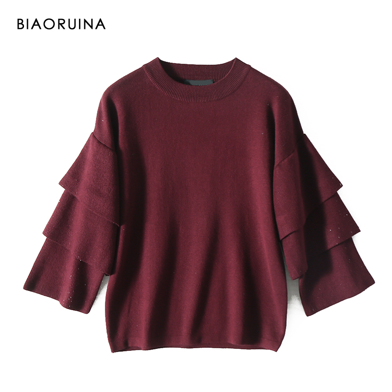 BIAORUINA Women's Burgundy Solid All-match O-neck Knit Sweater Butterfly Sleeve Ladies Elegant Straight Loose Pullovers