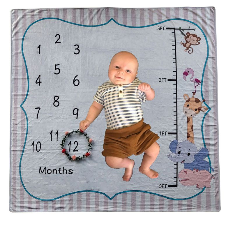 Baby Milestone Blanket Newborn Photograph Prop Infant Blanket Shoot Background 72XC