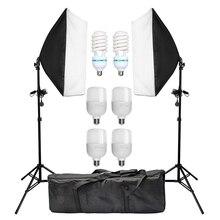 사진 Softbox 라이트 박스 키트 50*70cm Softbox 2PCS 135W 전구 사진 스튜디오 카메라 조명 장비 라이트 스탠드 캐리 백