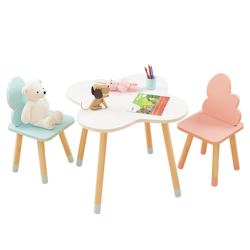 Ins Children's Study Table and Chairs Kindergarten Cartoon Cloud Small Table Writing Toy Game Table and Chair Set|  - title=