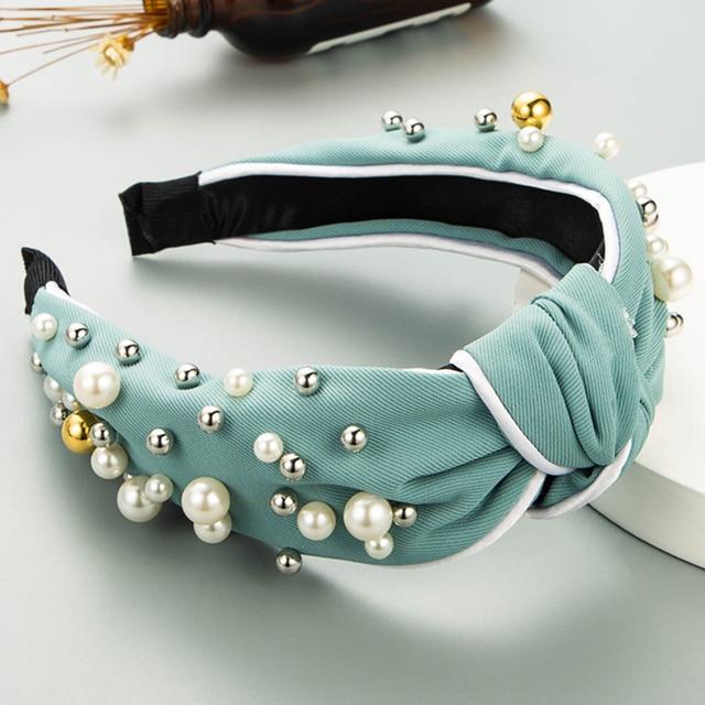 Wide Top Knot Pearl Hair Hoop Hairband  3