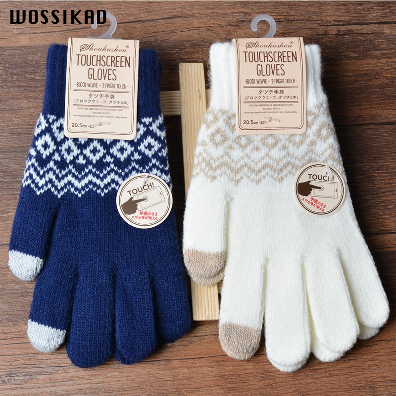 Winter Gloves  Screen Touch Gloves Wool Suit Women Man  Geometric Gloves Freeze Touch Rekawiczki Modis Gifts Mittens Mujer
