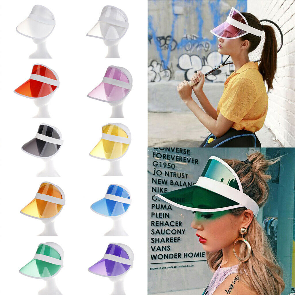 Fashion  Women Man Summer Sun Visor Party Casual Clear Plastic Adult Sunscreen Cap Sunhat US Unisex Outdoor Hat