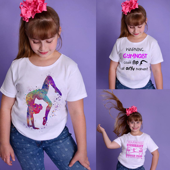 Детская футболка для гимнастики; Спортивная детская повседневная футболка с короткими рукавами и круглым вырезом; Одежда для малышей; Топы; Футболки