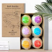 6PCS Bath Bombs Spa Bomb Fizzy Natural Handmade Sea Salt Lavender Kit For Moisturizing Bubble & Body Scrub Salts