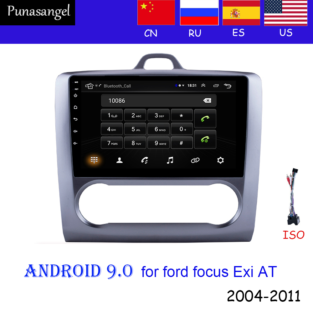 2-DIN 9'' Android 9.0 <font><b>GPS</b></font> Navigation car radio Touchscreen Quad-core multimedia player <font><b>For</b></font> 2004-2011 <font><b>Ford</b></font> <font><b>Focus</b></font> Exi AT 2din image