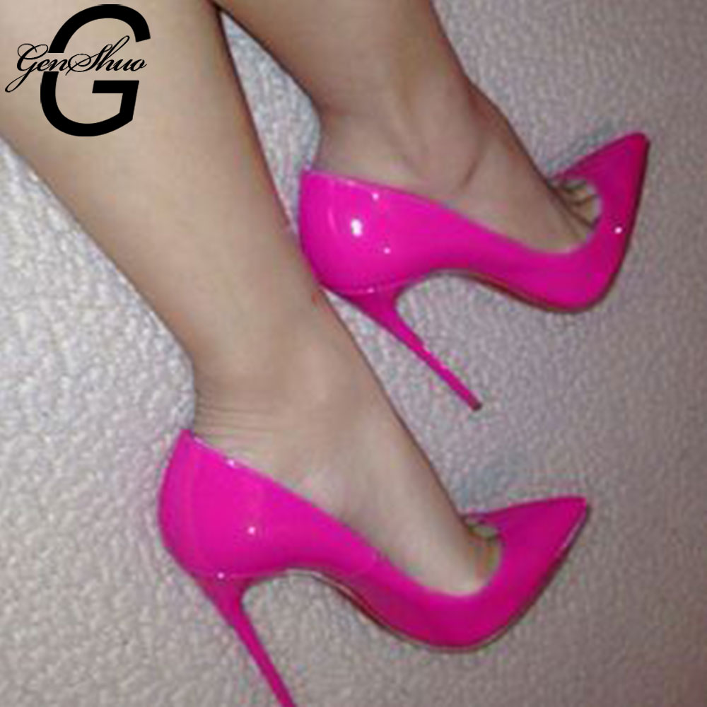 GENSHUO Patent Leather High Heel Shoe Sexy Pointed Toe Thin Heels Woman Pumps 2019 Dress Heels 35-42 Party Shoes Nightclub Pumps