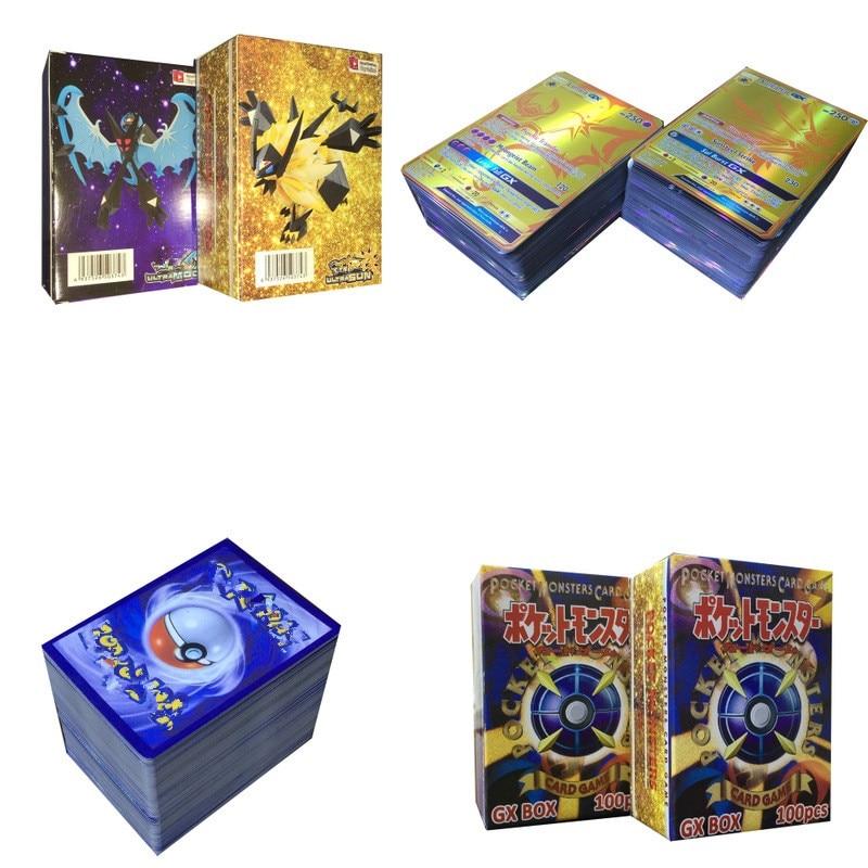 100 шт./кор. GX усилительный насос EX Мега блестящие карт карточная игра битва карт без Повторите Пикачу карточная игра для детей