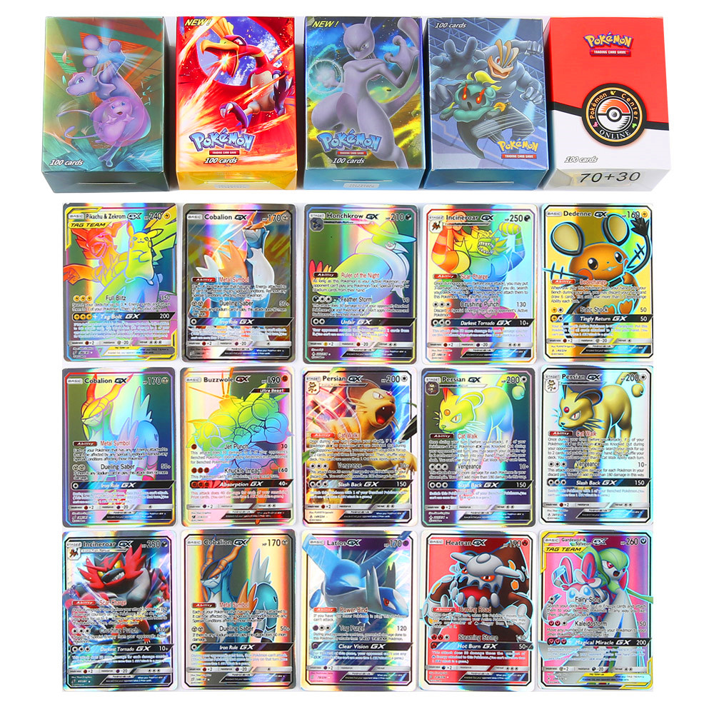 New GX EX Game Collection Paper Trading Pokemones  Cards For Funs Gift Children English Language Toy