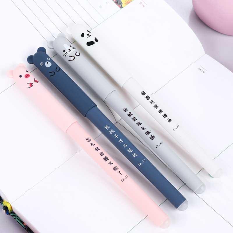 1pcs Student Washable Handle Pen Cute Pig-panda Pens 0.35mm Refill Rods Blue Ink Gel Pen Erasable Stationery School Supplies