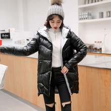 Padded Jacket Hooded Thick Winter Women's Mid-Length Loose Shiny