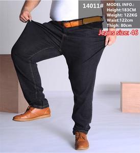 Image 2 - Black Jeans Men Blue Big Large Plus Size 46 48 50 52 150KG Mens Jean Elastic High Waist Man Loose Straight Denim Pants Trousers